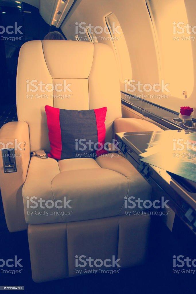 VIP Business Jet Airplane Interior stock photo
