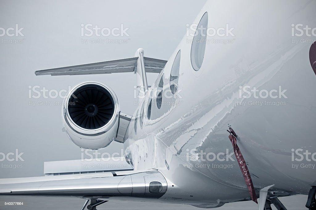 Business Jet engine stock photo