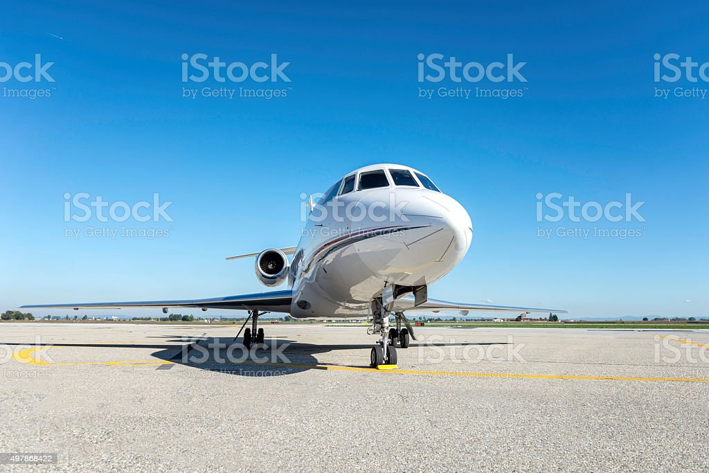 Business jet front view stock photo