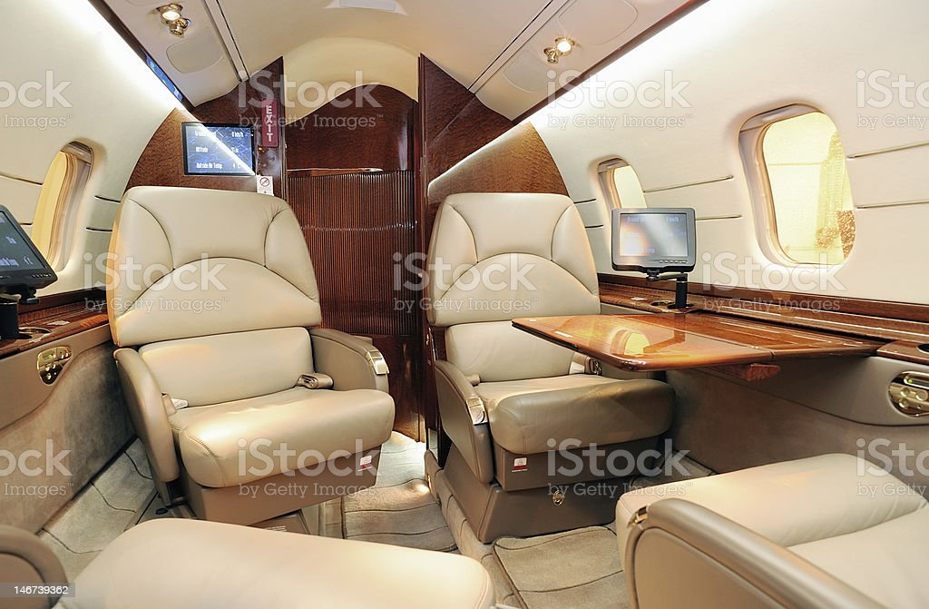 Business jet interior stock photo