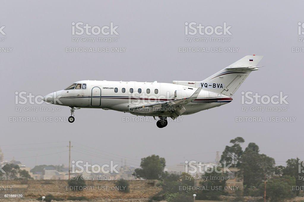 Business Jet on final approach stock photo