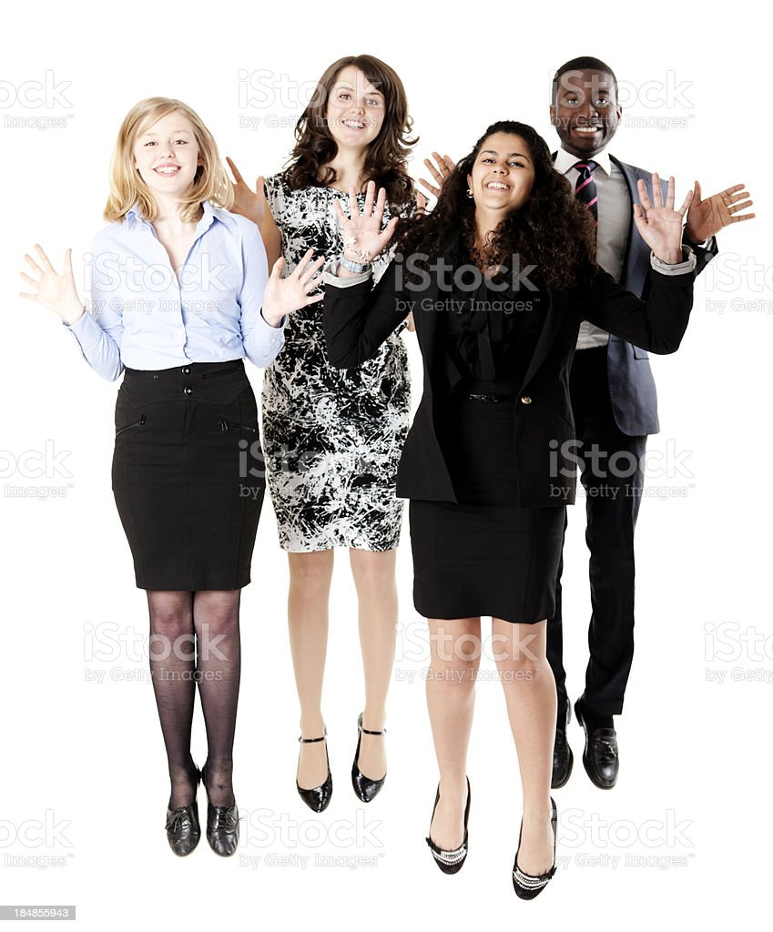 Business jump with wave stock photo