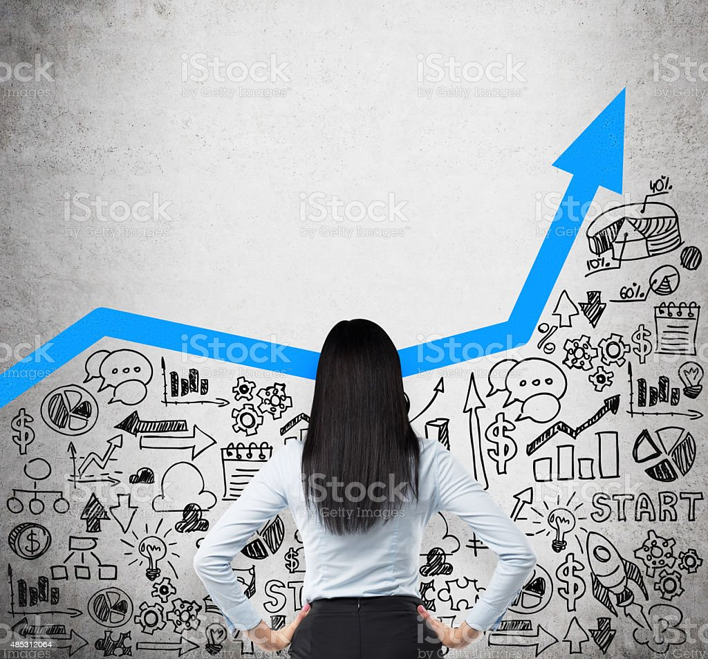 business lady who is looking for the new business ideas stock photo