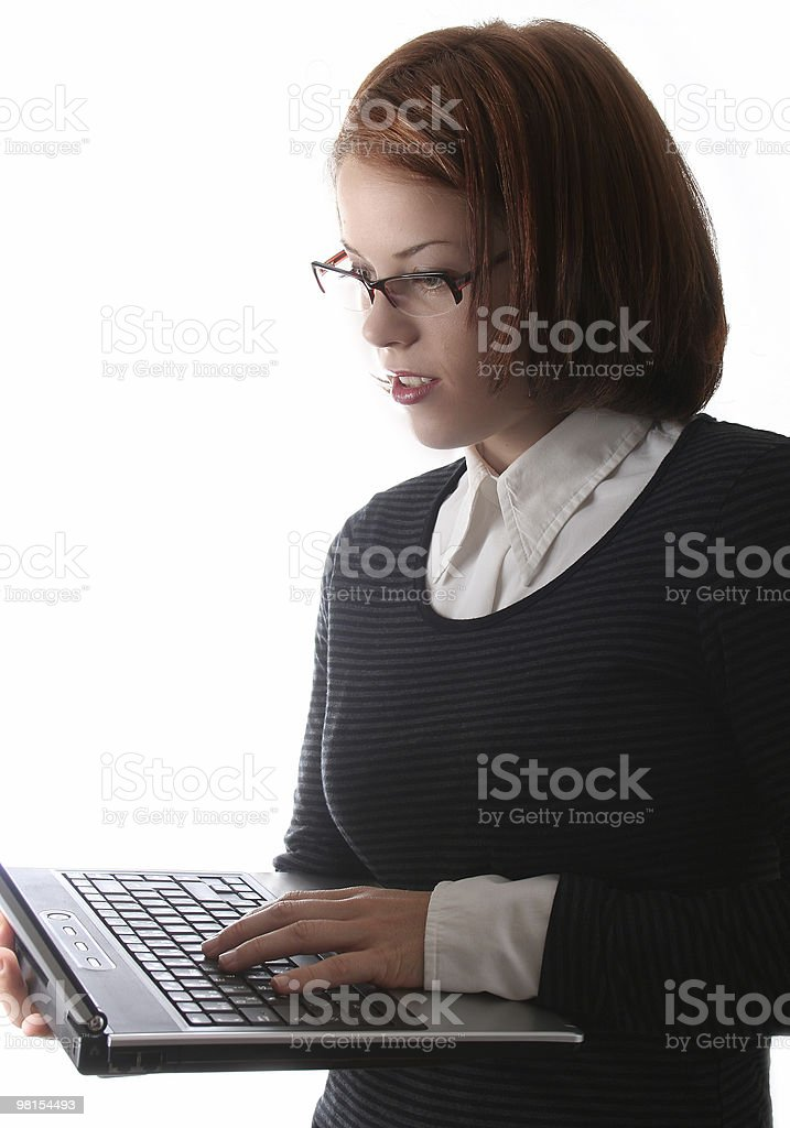 Business lady with laptop computer royalty-free stock photo
