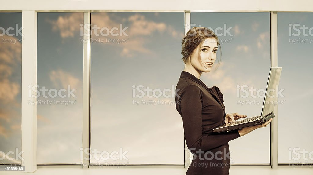 business lady with laptop royalty-free stock photo