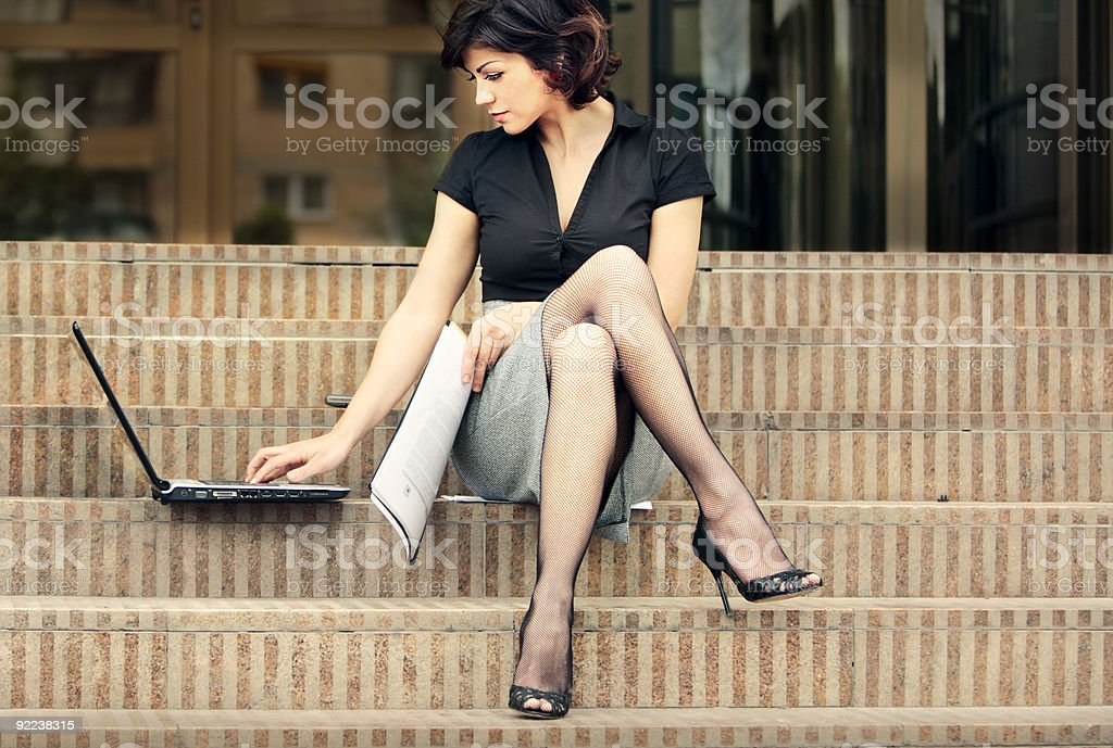 business lady with sexy legs royalty-free stock photo