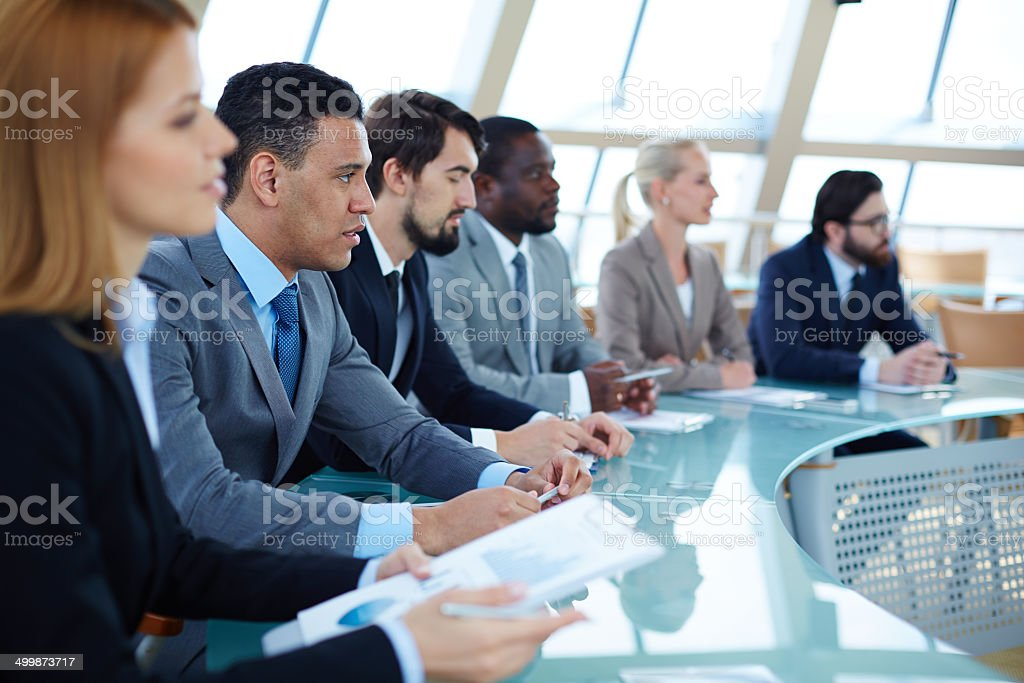 Business lecture stock photo