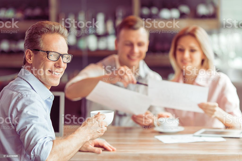 Business lunch at restaurant stock photo