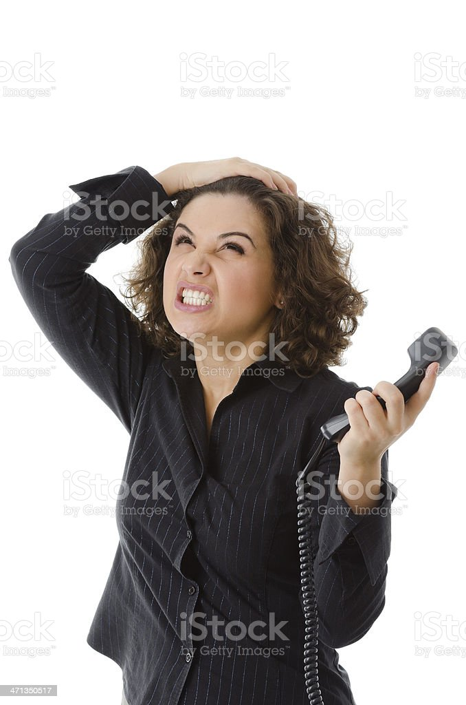 Business mad woman with phone in hand royalty-free stock photo