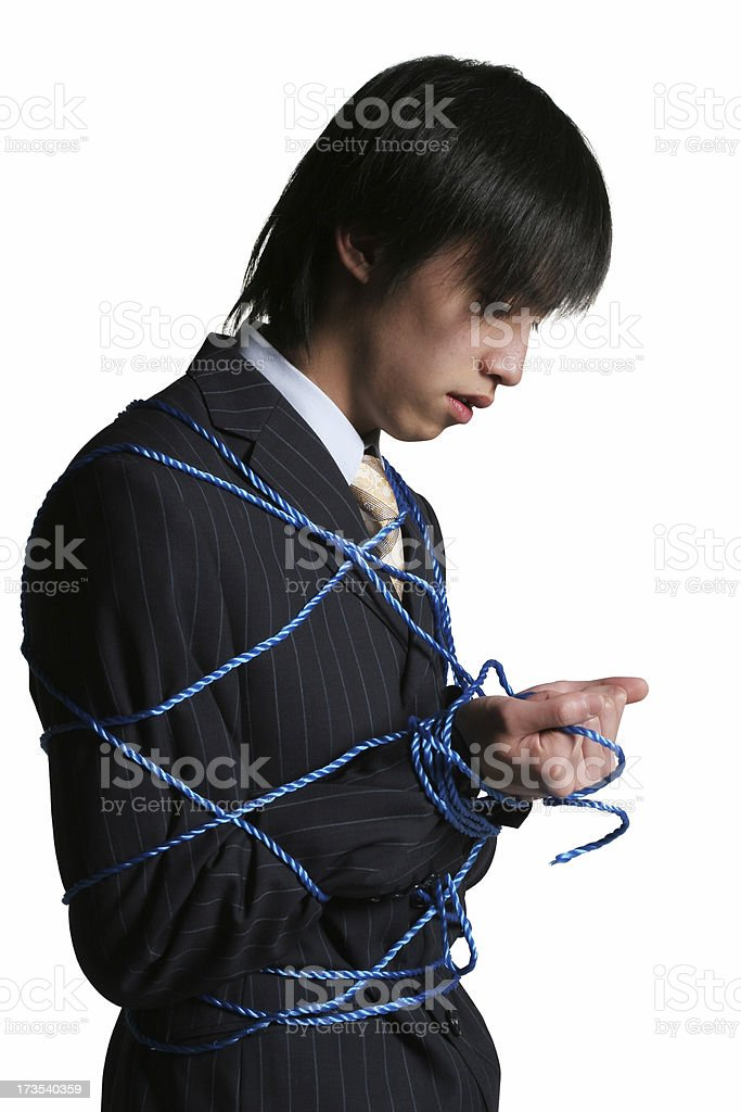 Business man all tied up royalty-free stock photo