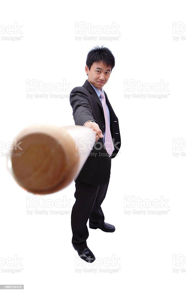 Business man and baseball bat royalty-free stock photo