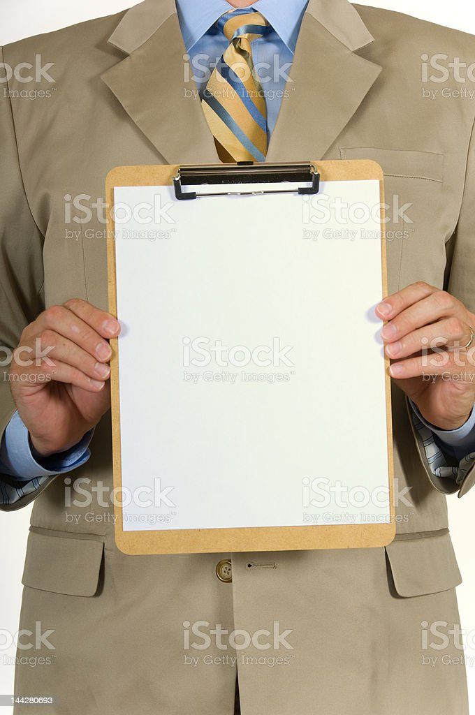 Business man and clipboard royalty-free stock photo