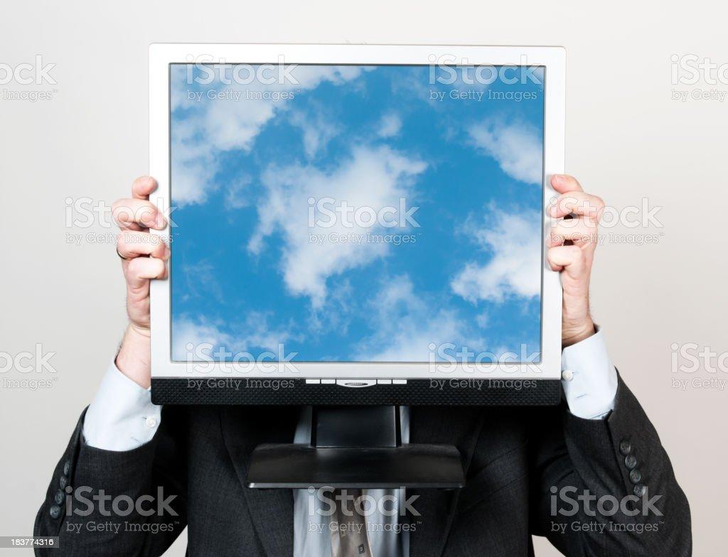 Business man and cloud computing stock photo