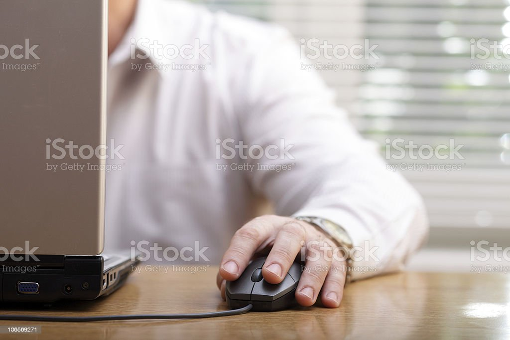 Business man and computer royalty-free stock photo