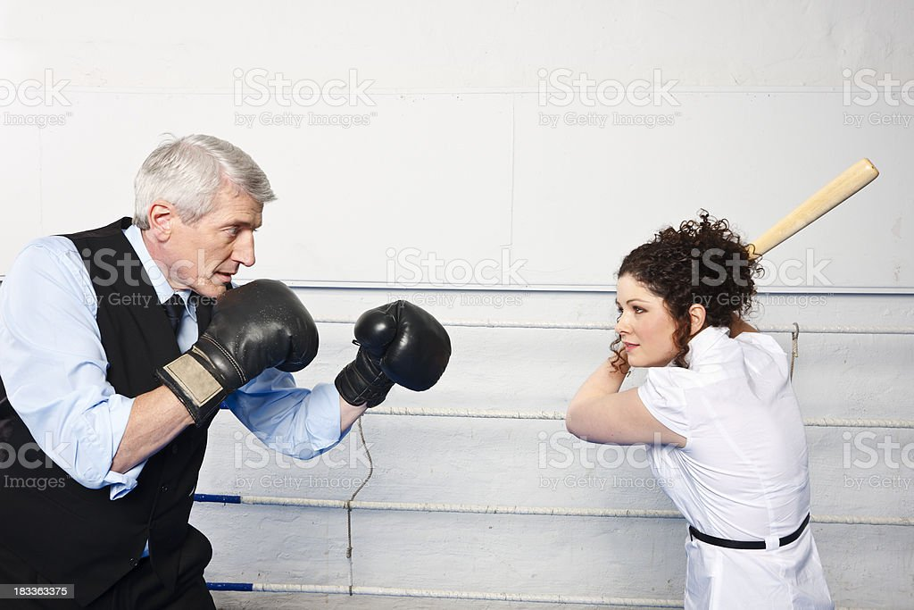 Business Man And Girl Fighting royalty-free stock photo
