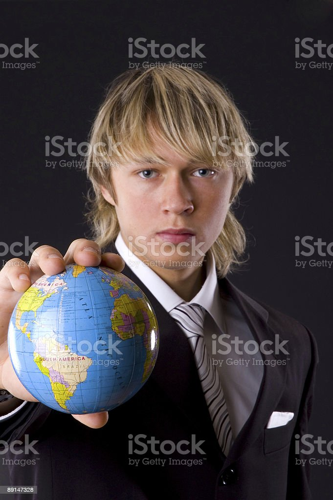 business man and globe royalty-free stock photo
