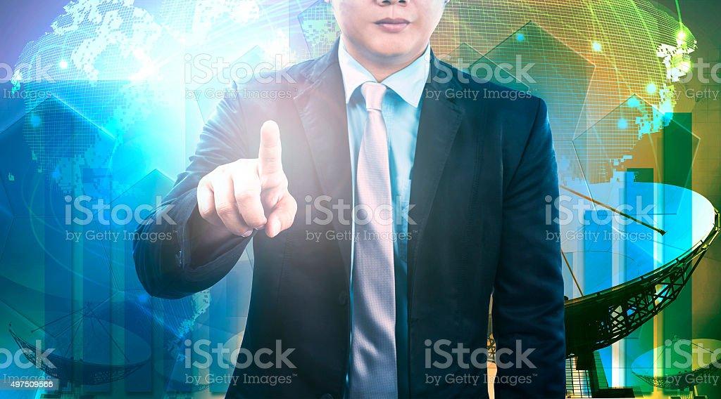 business man and satellite dish background stock photo
