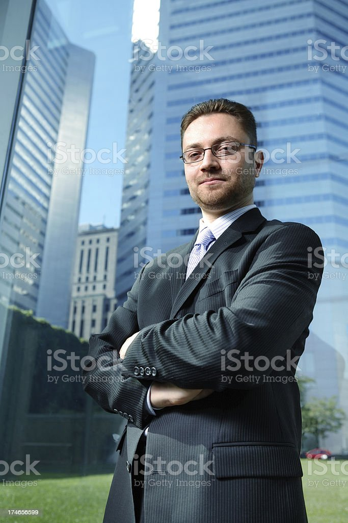 Business man and skyscrapers. royalty-free stock photo