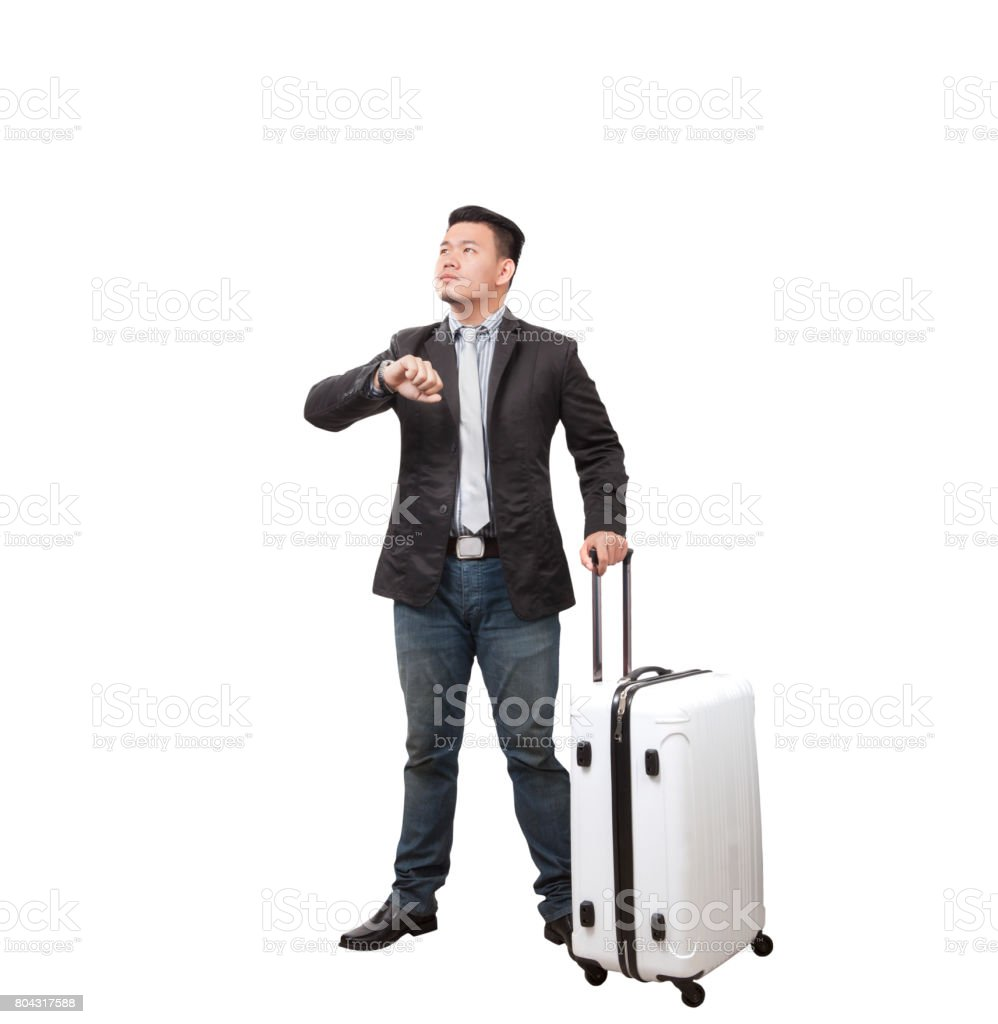 business man and traveling luggage standing and rise light hand for looking hand watch isolated white background stock photo