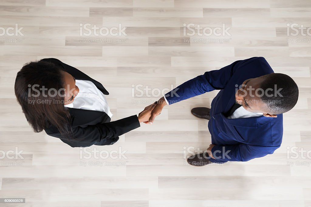 Business Man And Woman Handshaking stock photo