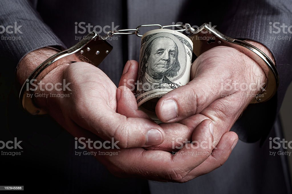Business man arrested for bribe royalty-free stock photo