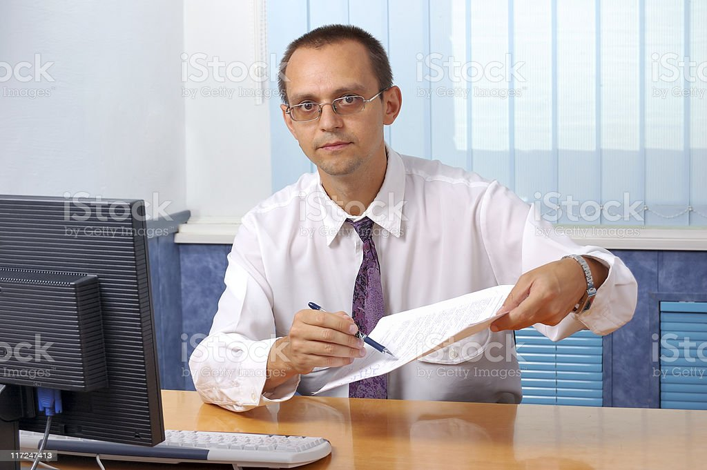 Business man asking to sign contract royalty-free stock photo