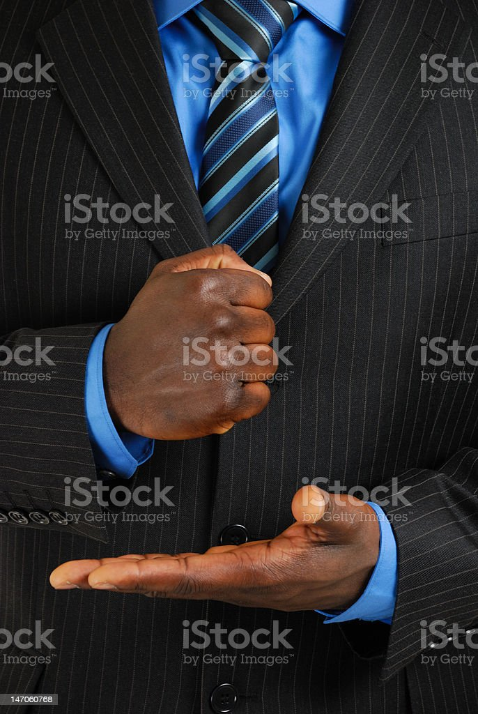 Business man assertive gesture stock photo