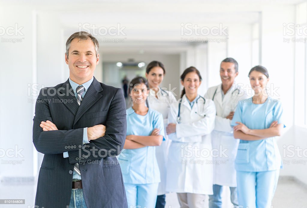 Business man at the hospital stock photo