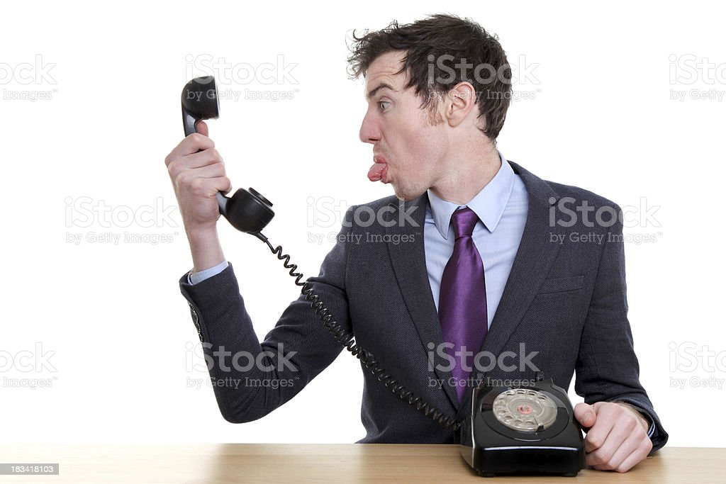 Business man behaving rude on phone call stock photo