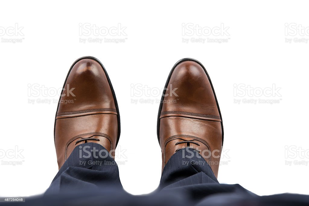 Business Man Brown Shoes Top View stock photo