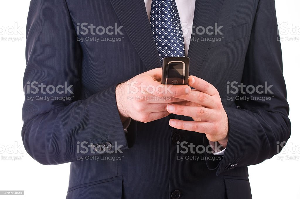 Business man calling by cell phone. stock photo