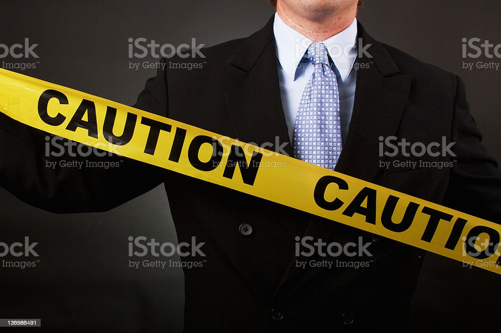 Business Man Caution Tape royalty-free stock photo