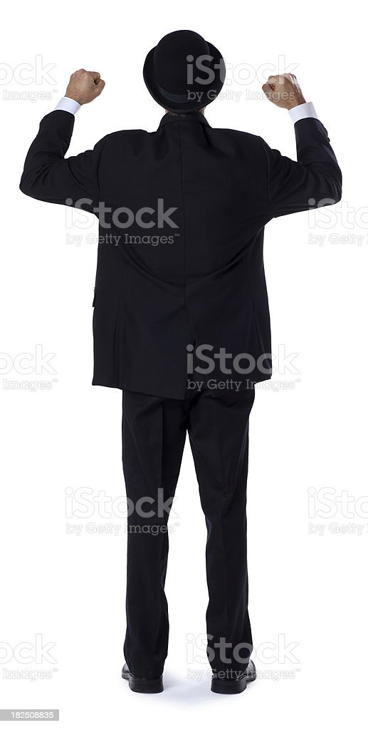 Business Man Celebrating on White stock photo