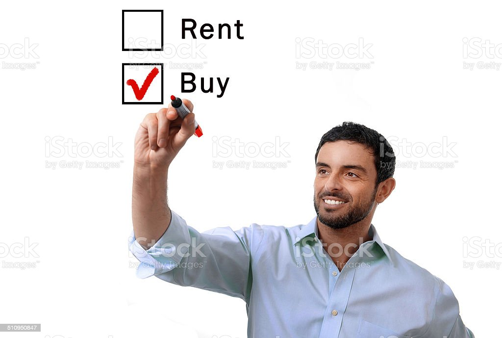 business man choosing rent or buy option real estate concept stock photo