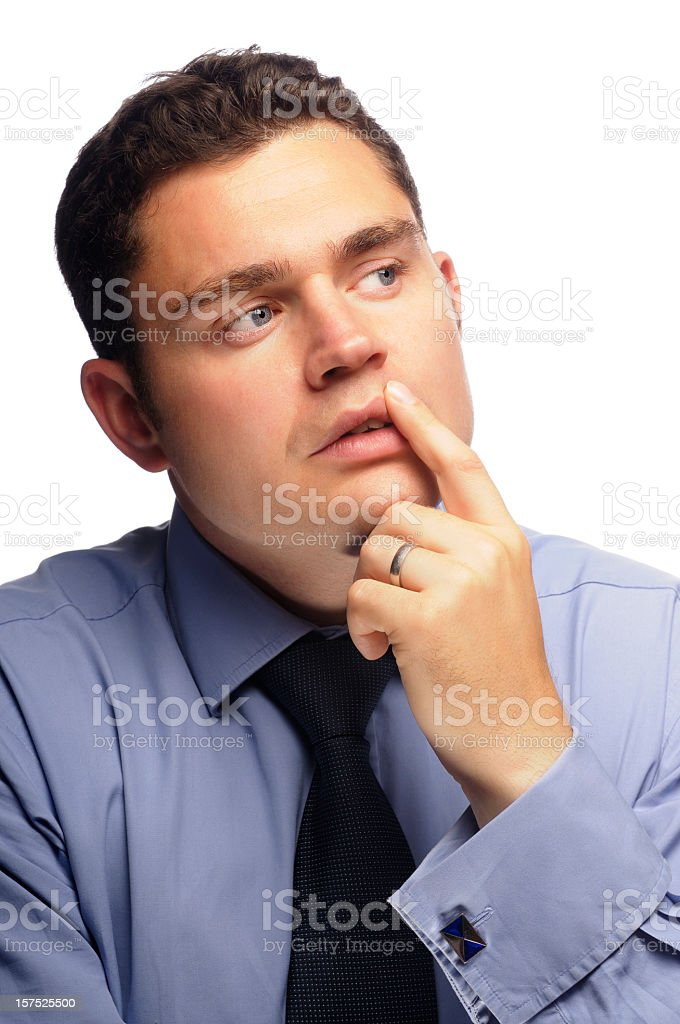 Business Man Considering Options stock photo