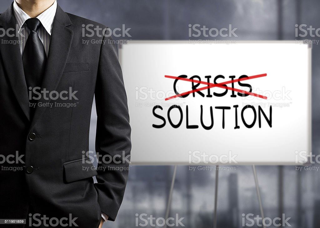 Business man cross crisis and find solution, Concept of Success stock photo