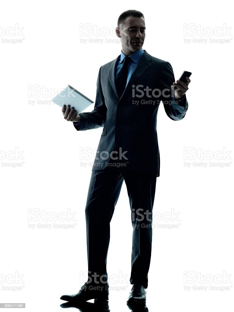 business man digital tablet  telephone isolated stock photo