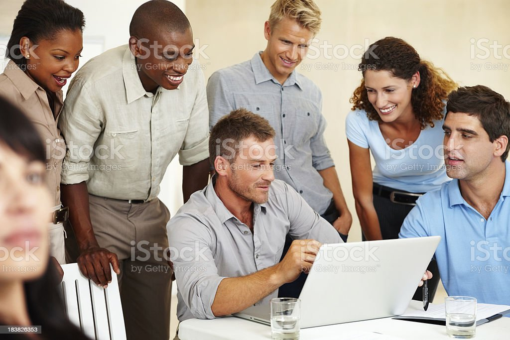 Business man discussing project with colleagues royalty-free stock photo