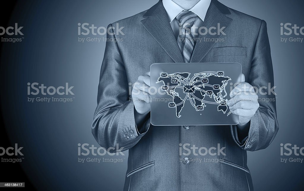 business man distribute digital mail stock photo