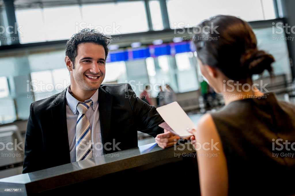 Business man doing check-in stock photo