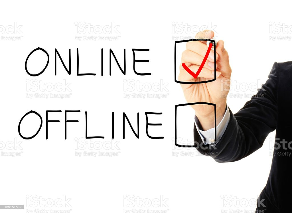 Business man drawing a online and offline check box royalty-free stock photo