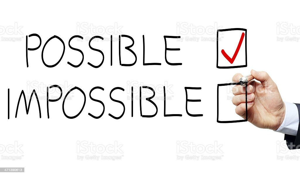 Business man drawing a possible and impossible check box stock photo