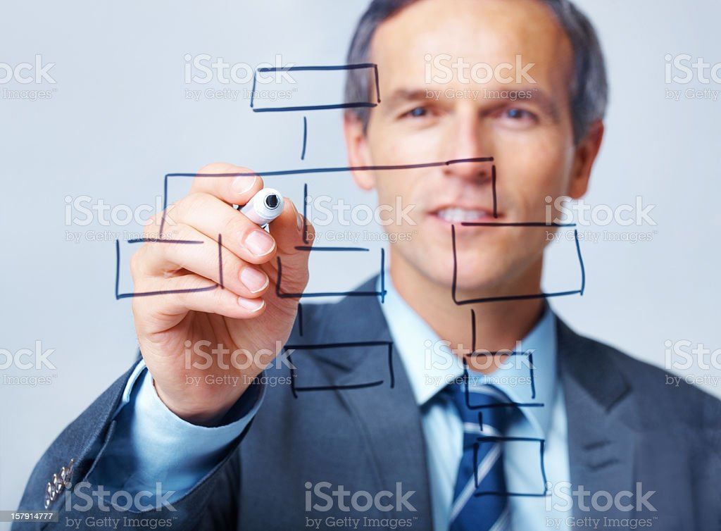 Business man drawing chart stock photo