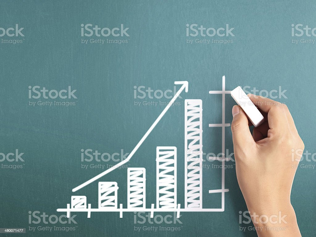 Business man drawing  graph stock photo