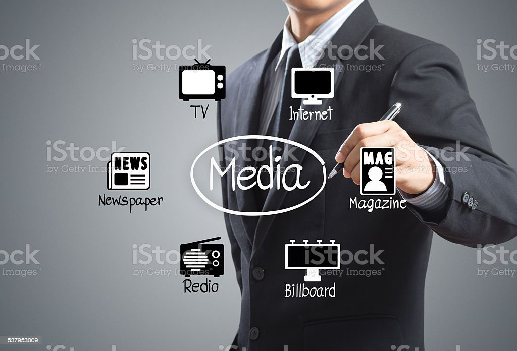Business man drawing media Icons diagram stock photo