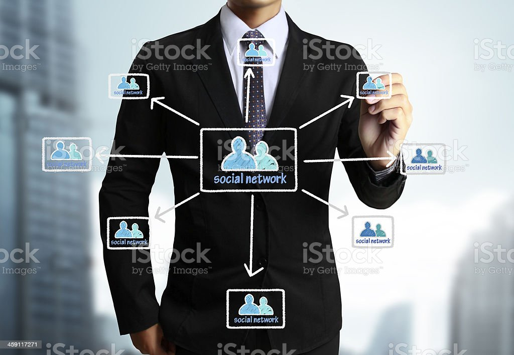 Business man drawing social network stock photo