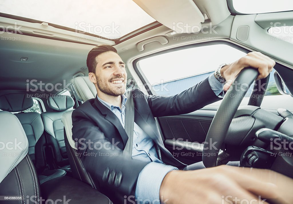Business Man Driving the Car stock photo