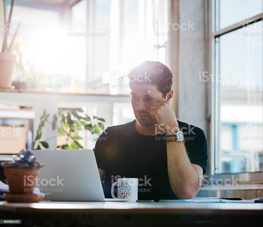 Business man finding the solution stock photo