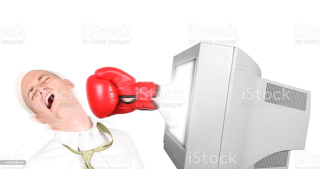 Business Man getting virtually punched through monitor royalty-free stock photo