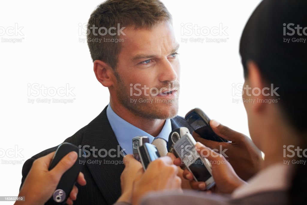 Business man giving interview royalty-free stock photo